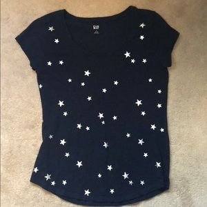 Gay Navy tee with silver stars small